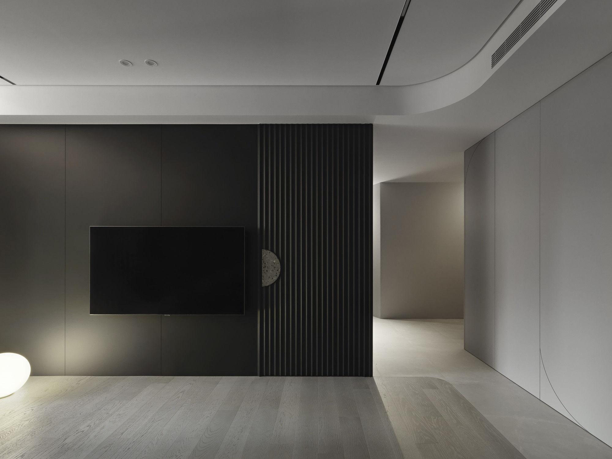 台中分子設計-現代風設計師-台中七期室內設計-電梯大樓整體規劃-客廳電視牆、地板拼接