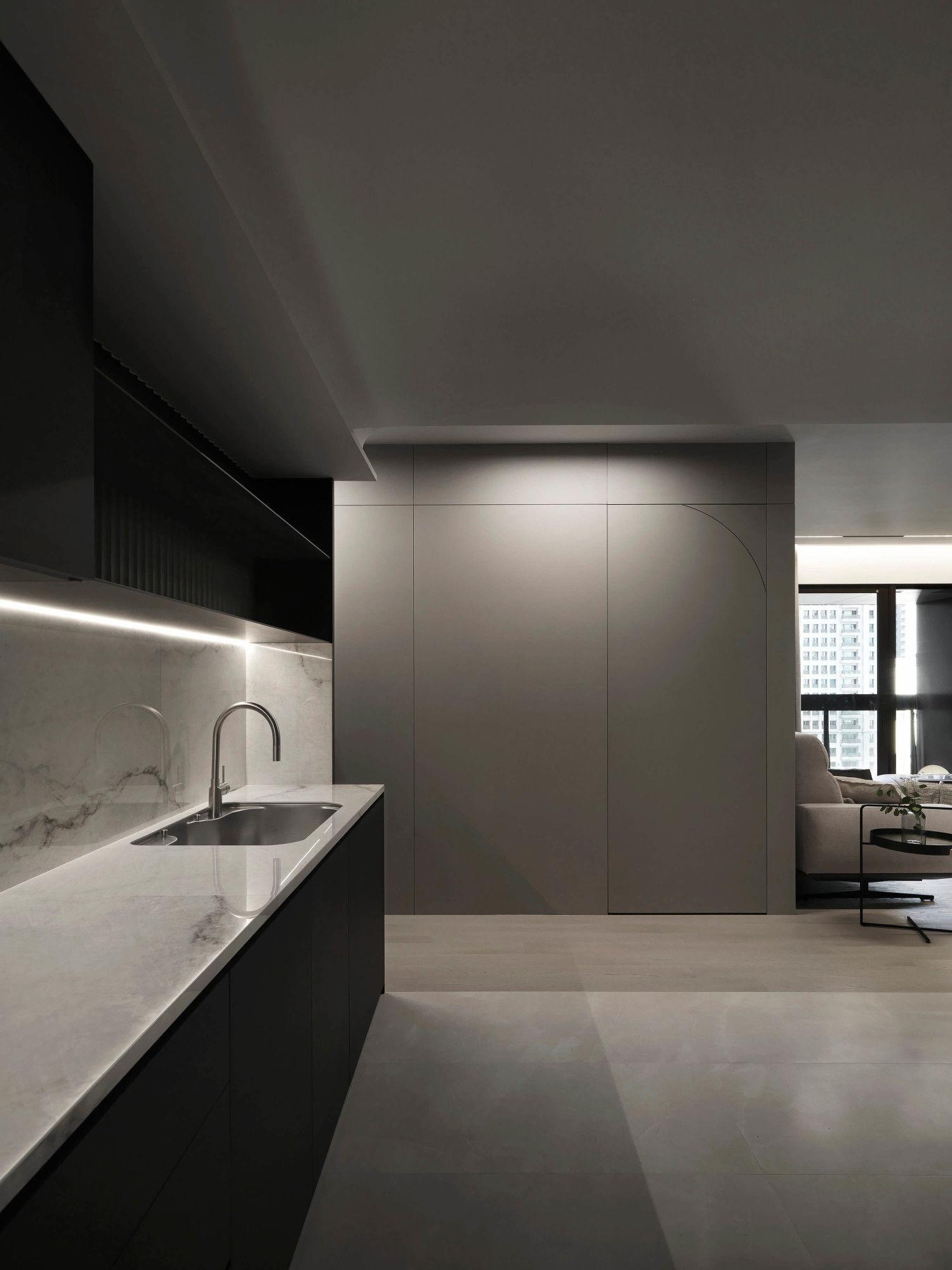 台中分子設計-現代風設計師-台中七期室內設計-電梯大樓整體規劃-輕食區、一字型廚具設計
