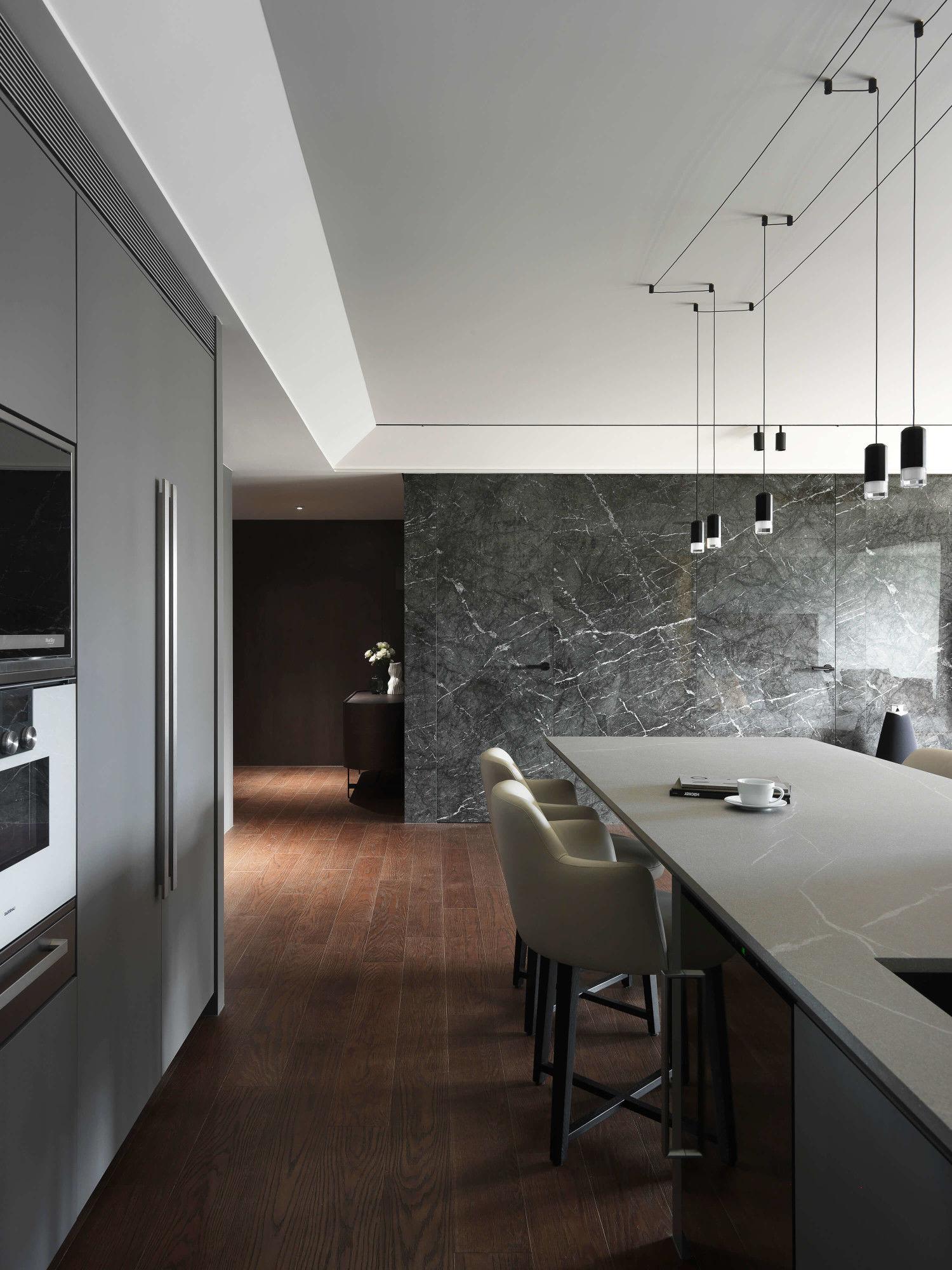 分子室內裝修設計-台中七期現代風格-客餐廳公共區域、進口廚具、訂製輕食區中島