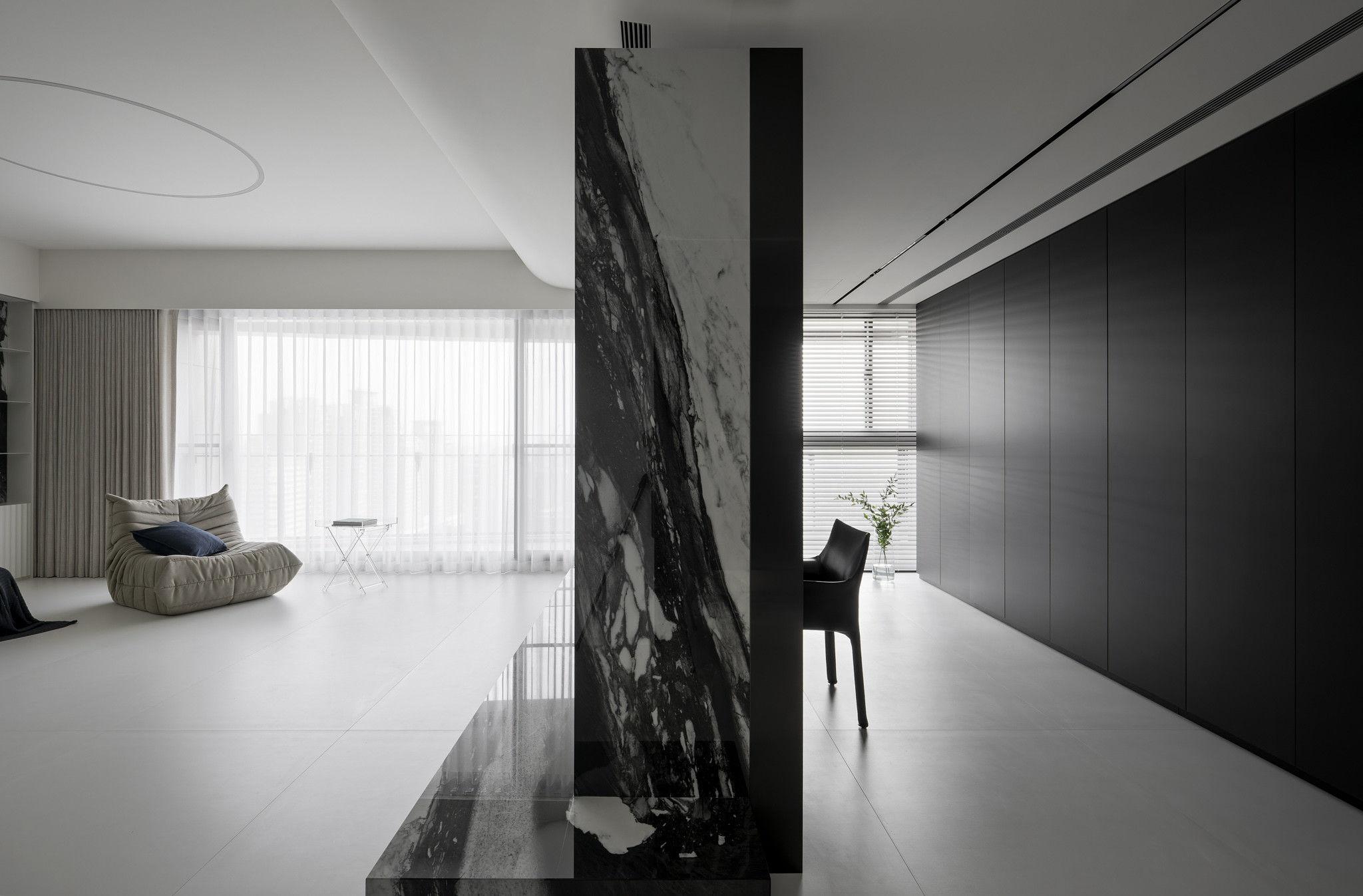 分子室內裝修設計-現代極簡風、台中室內裝修、室內設計、潑墨石材紋、客廳、書房、純白色、霧黑色