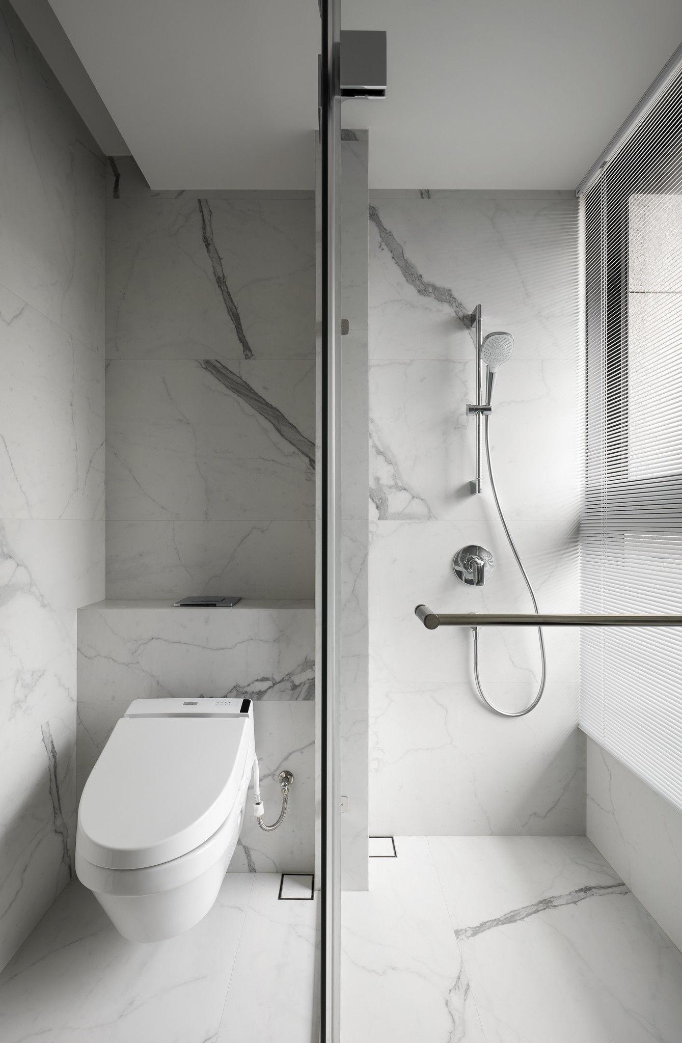分子室內裝修設計-現代極簡風、台中室內裝修、室內設計、石材紋浴室、純白色