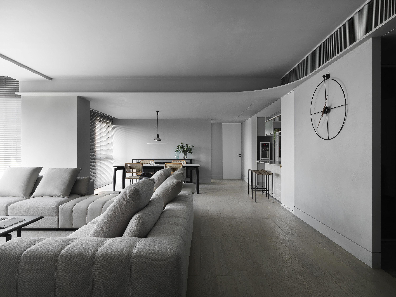 台中 分子室內裝修設計 - 單層電梯大樓 - 現代風住宅設計 - 全室舊屋翻新 - 客廳