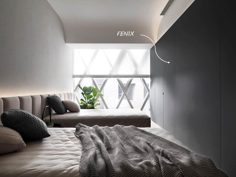 分子室內裝修設計-科技面料FENIX運用-電梯大樓臥室浴室牆面門片