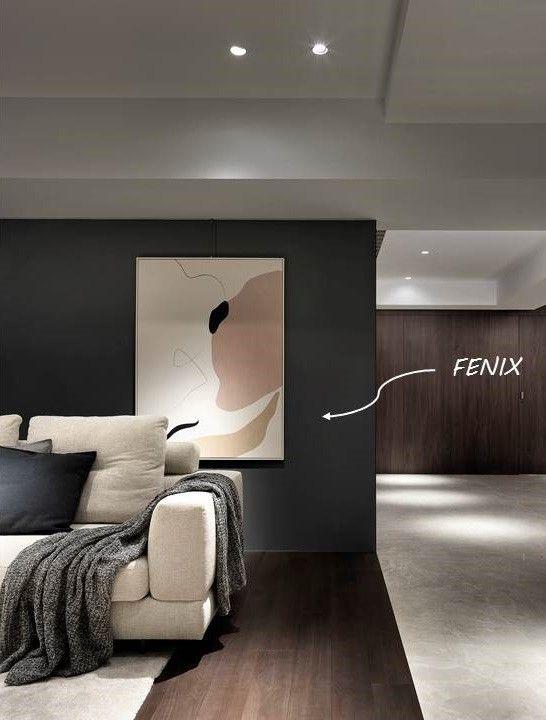 分子室內裝修設計-科技面料FENIX運用-電梯大樓客廳中島電器櫃輕食區