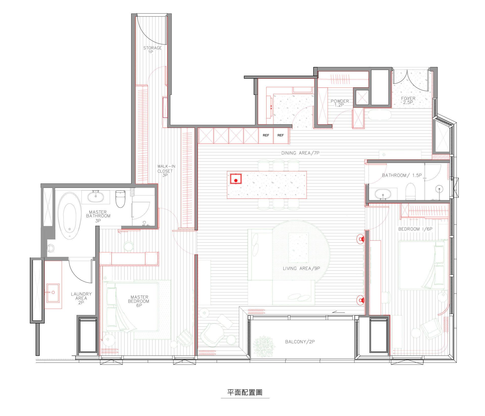 分子室內裝修設計-住宅空間設計-現代住宅-平面規劃-平面圖