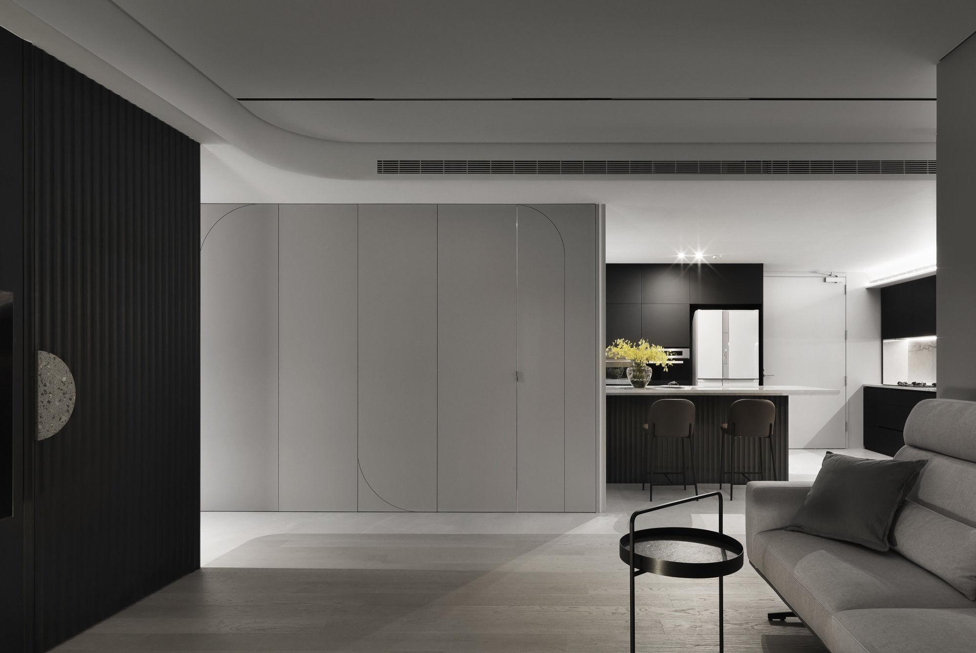 台中分子設計-現代風設計師-台中七期室內設計-電梯大樓整體規劃-客廳、隱藏式收納儲物間、餐廳、輕食區