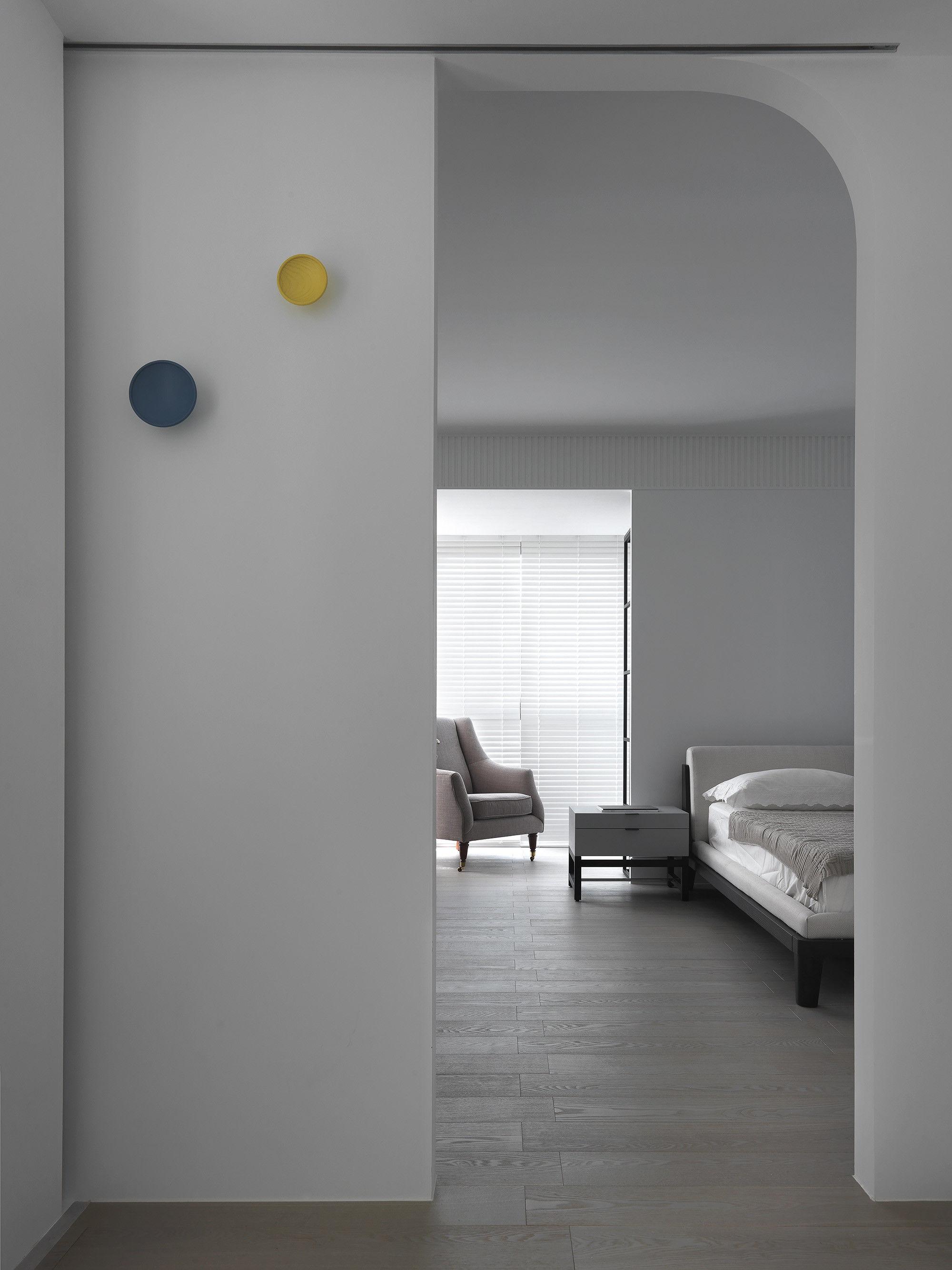 台中 分子室內裝修設計 - 單層電梯大樓 - 現代風住宅設計 - 全室舊屋翻新 - 臥室弧形