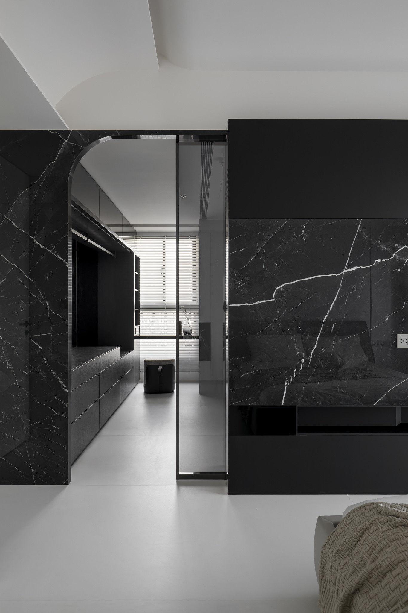 分子室內裝修設計-現代極簡風、台中室內裝修、室內設計、珍珠漆牆面、個性臥室、獨立更衣間、霧黑色