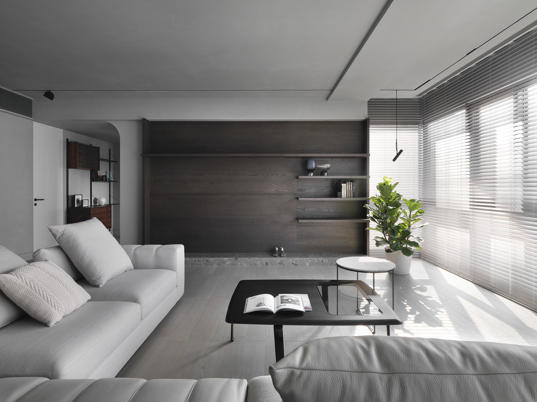 台中 分子室內裝修設計 - 單層電梯大樓 - 現代風住宅設計 - 全室舊屋翻新 - 客廳 - 電視櫃設計