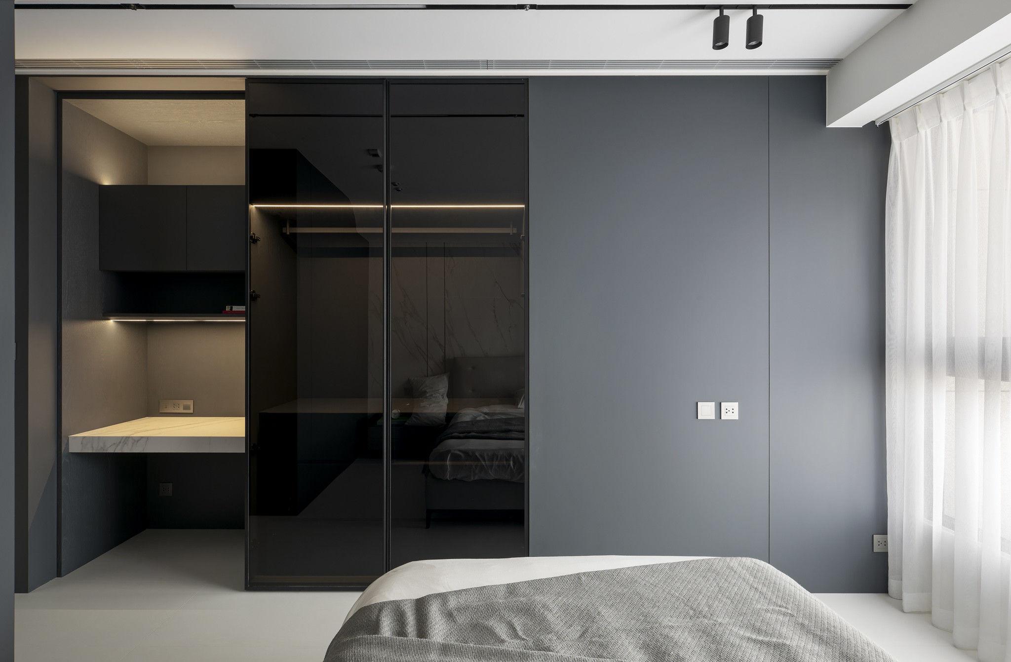 分子室內裝修設計-現代極簡風、台中室內裝修、室內設計、石材紋臥室、訂製機能櫃