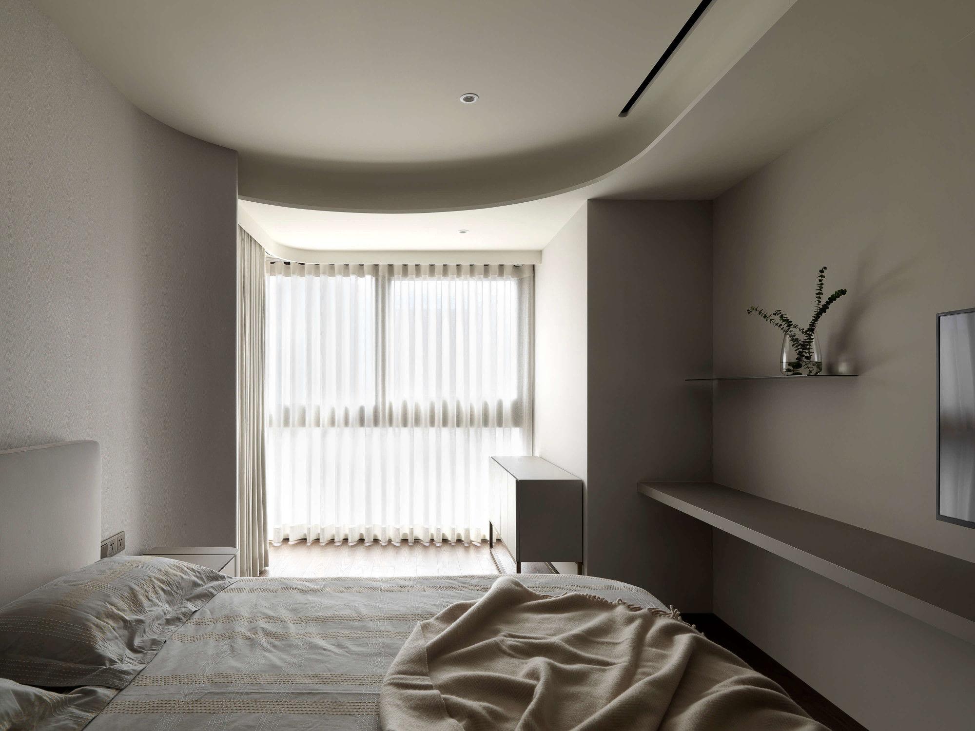 分子室內裝修設計-台中七期現代風格-臥室空間設計、弧形天花、落地窗景