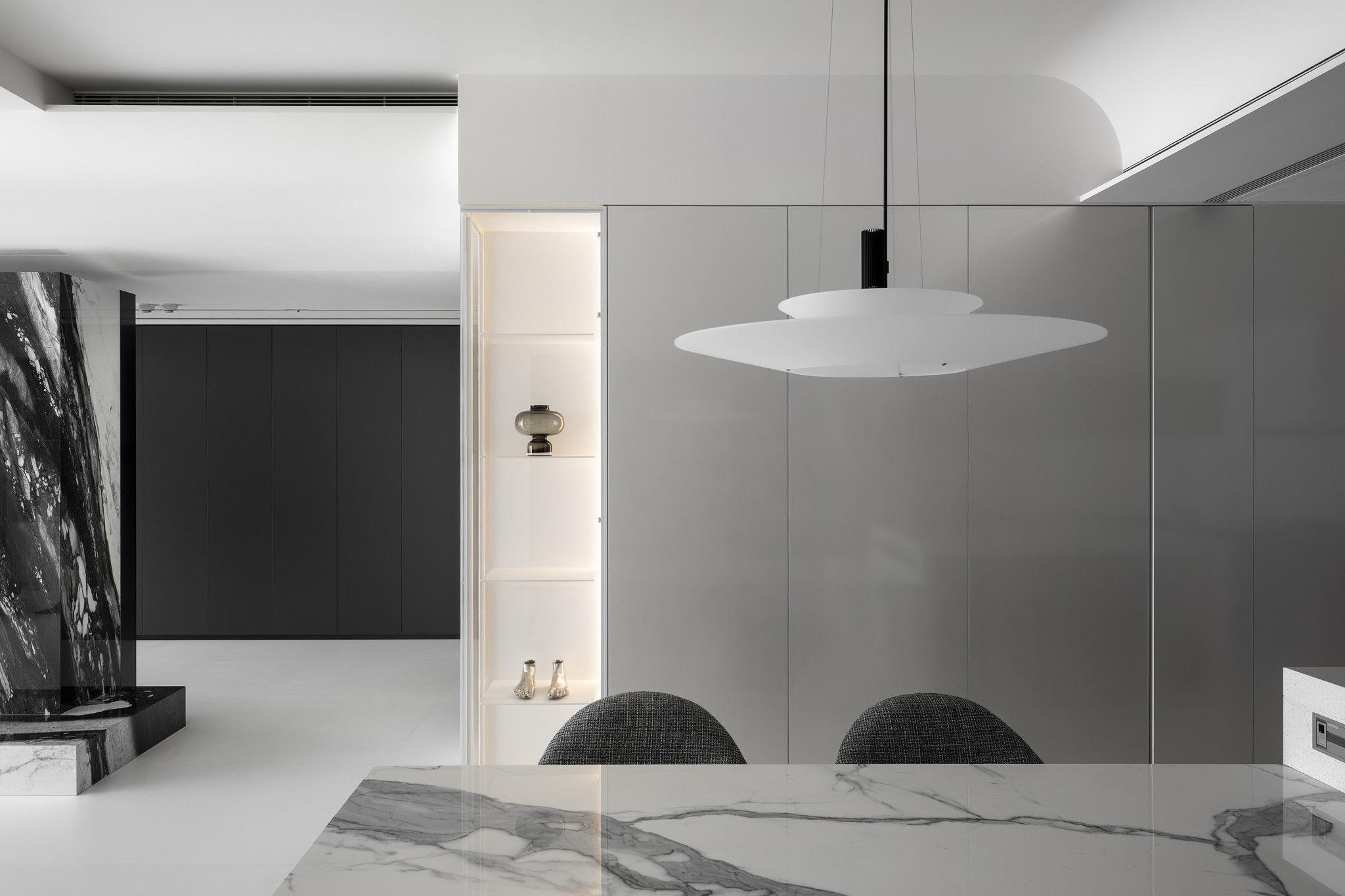 分子室內裝修設計-現代極簡風、台中室內裝修、室內設計、開放式客餐廳、Vibia、bulthaup