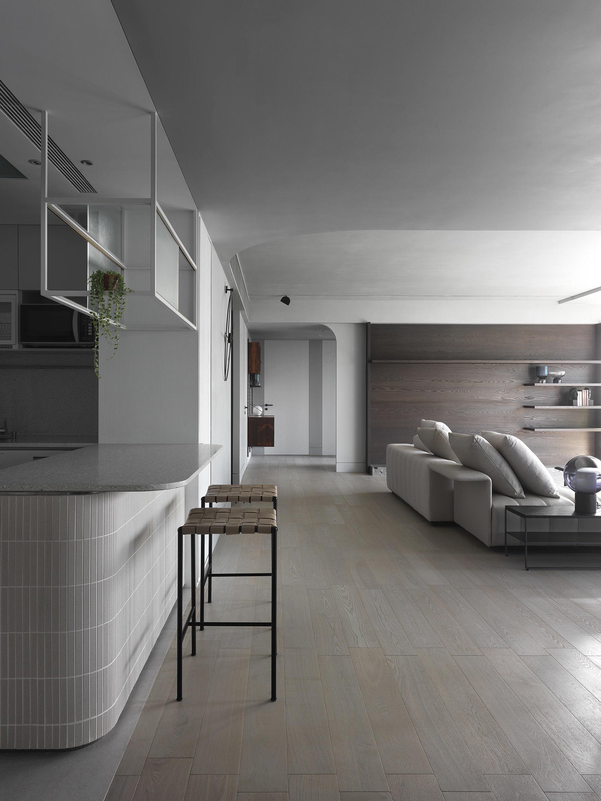 台中 分子室內裝修設計 - 單層電梯大樓 - 現代風住宅設計 - 全室舊屋翻新 - 中島