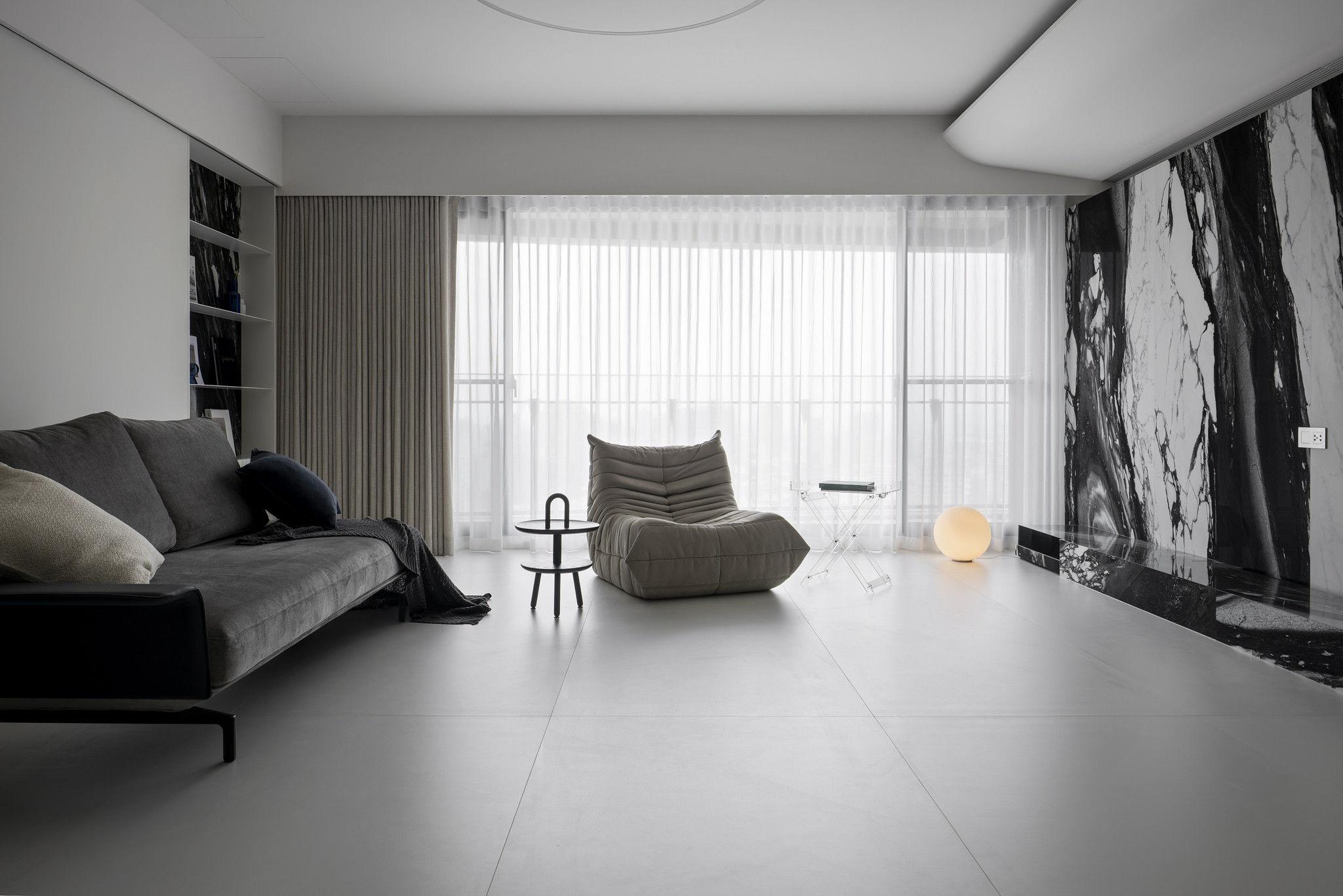 分子室內裝修設計-現代極簡風、台中室內裝修、室內設計、開放式客餐廳、進口薄磚、Vibia、bulthaup