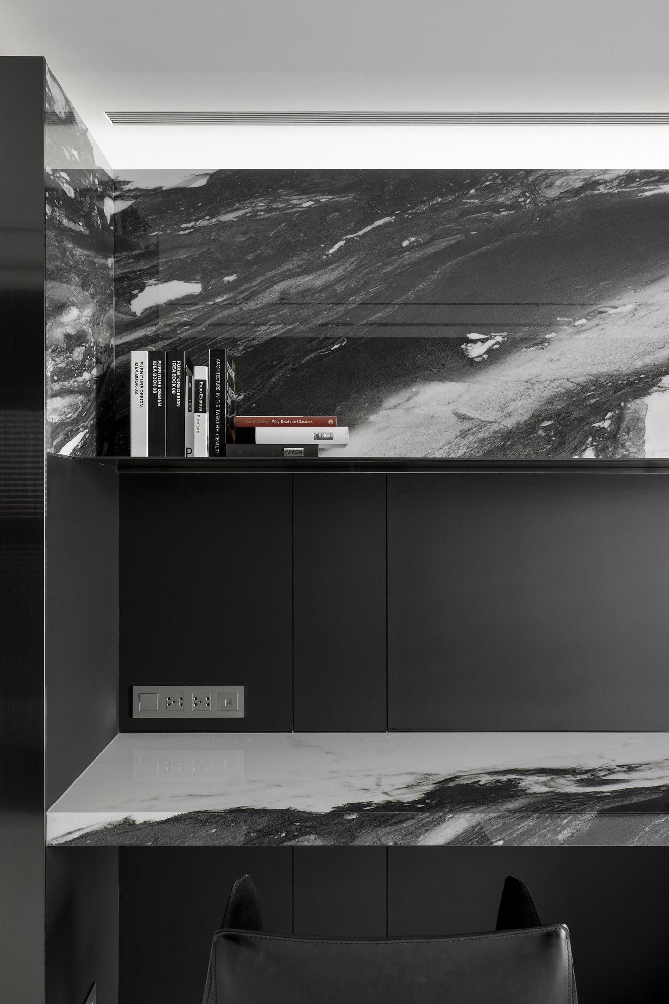 分子室內裝修設計-現代極簡風、台中室內裝修、室內設計、潑墨石材紋、個性書房、霧黑色